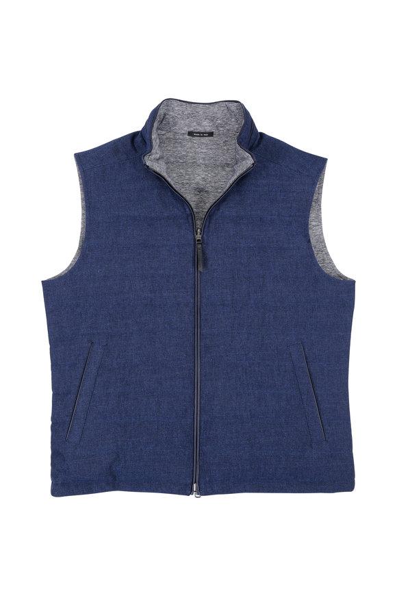 Ermenegildo Zegna Indigo Cotton & Linen Reversible Quilted Vest