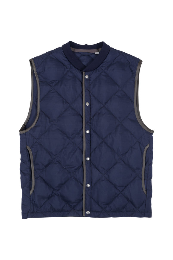 Vince Navy Blue Quilted Vest