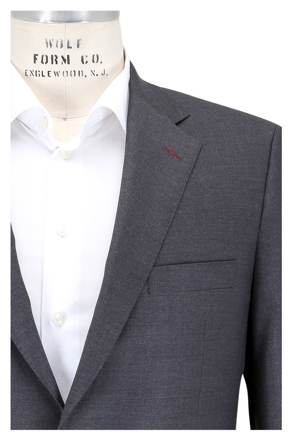 Samuelsohn Solid Gray Ice Wool Suit