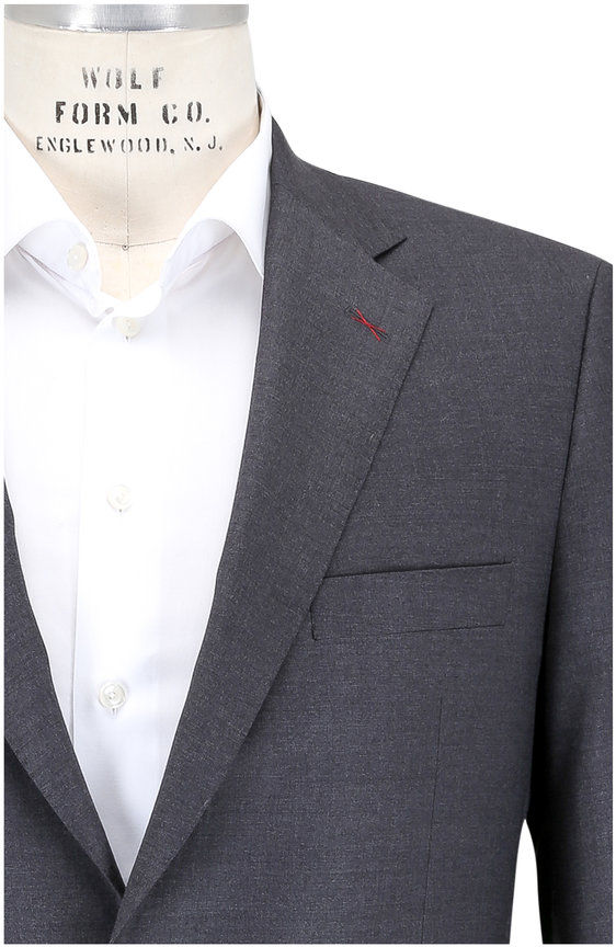Samuelsohn Solid Gray Ice Wool Suit