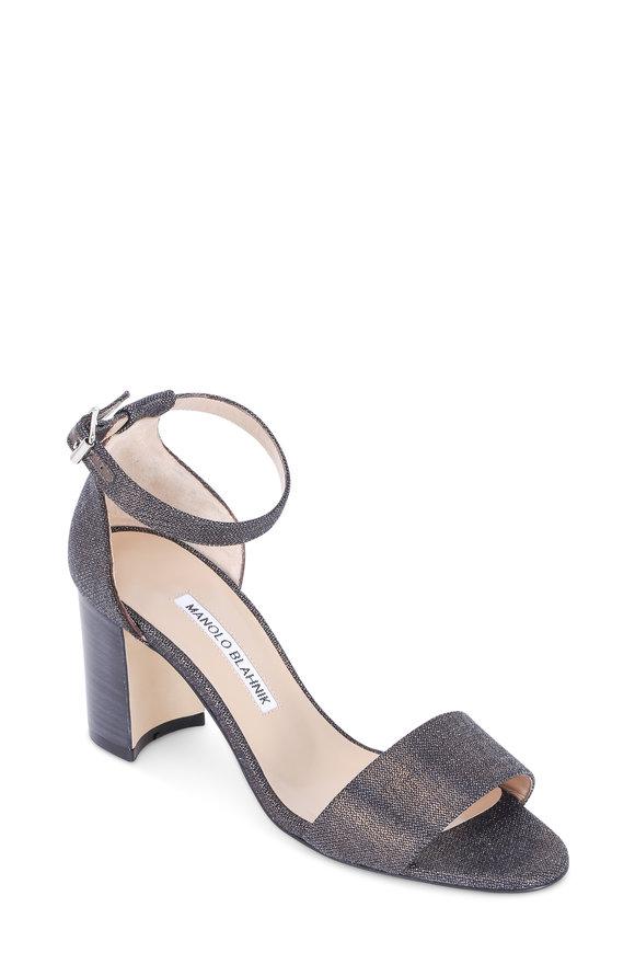 Manolo Blahnik Lauratomod Navy Metallic Denim Sandal, 70mm
