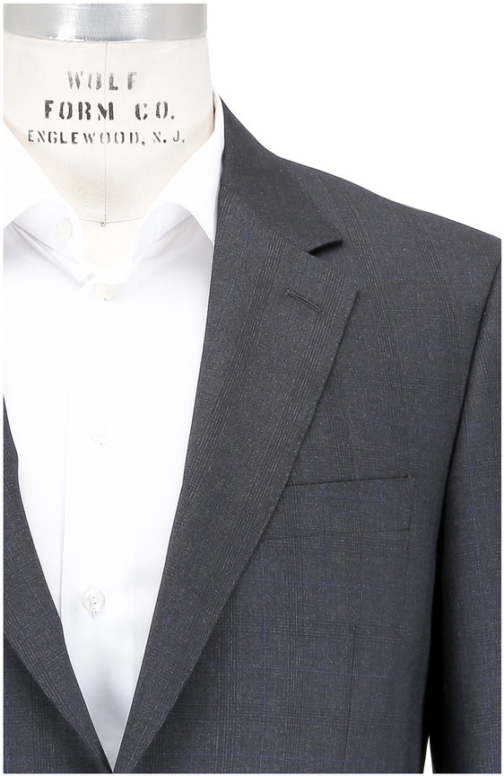 Canali Charcoal Gray Tonal Plaid Wool Suit
