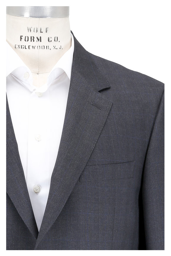 Canali Charcoal Gray Plaid Wool Suit