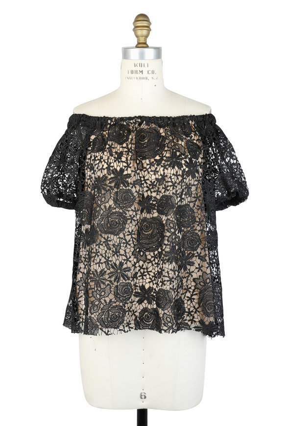 Reem Acra Black Guipure Lace Off-The-Shoulder Blouse