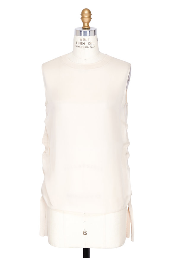 Vince Ivory Ruched Silk Tank