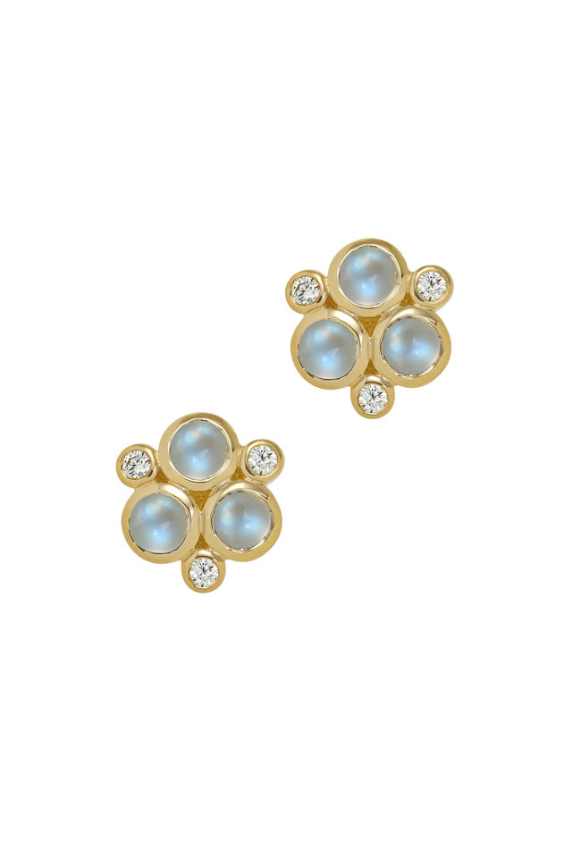 18K Yellow Gold Moonstone & Diamond Trio Earrings
