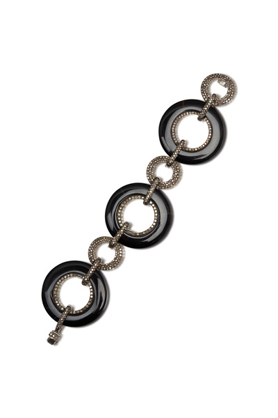 Loren Jewels - Gold & Silver Black Onyx Round Link Bracelet