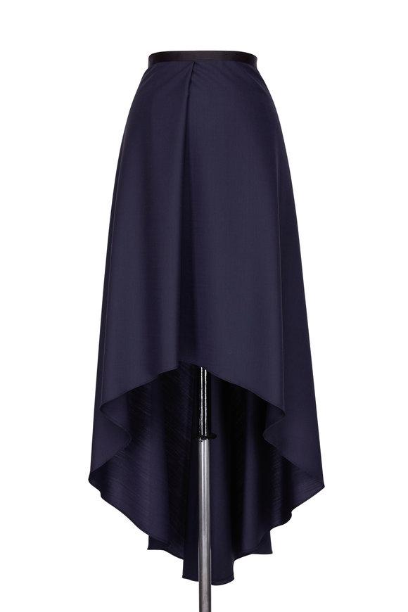 Brunello Cucinelli Ink Wool High-Low Skirt