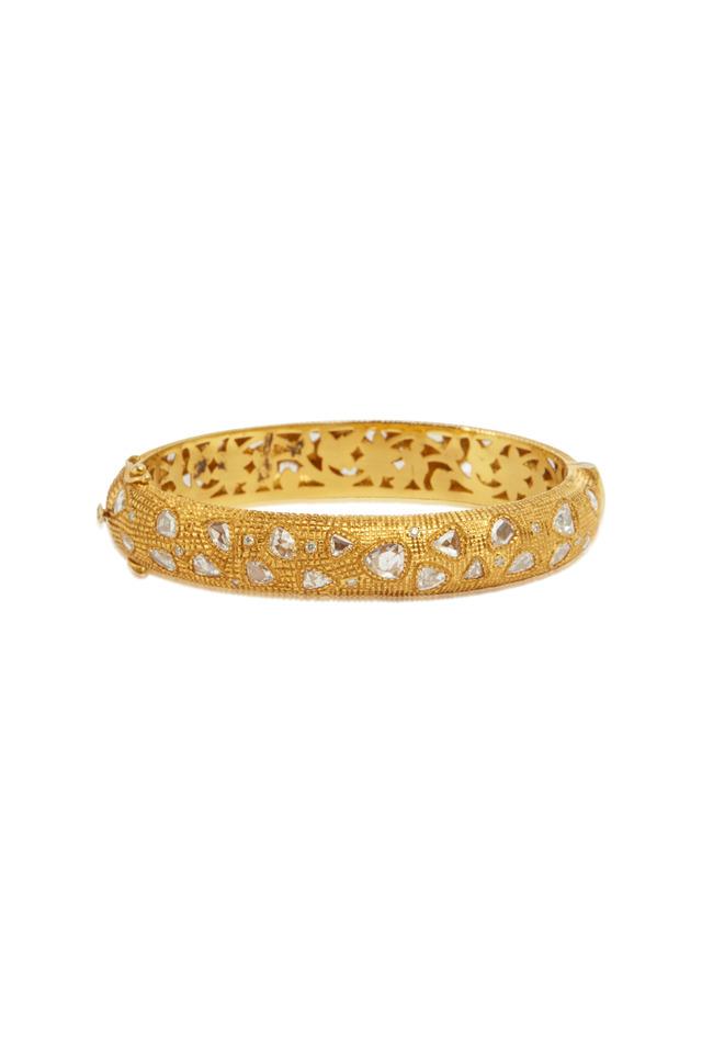 Yellow Gold Rose-Cut White Diamond Bangle