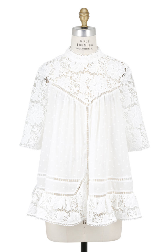 Zimmermann Caravan White Gauze Embroidered Blouse