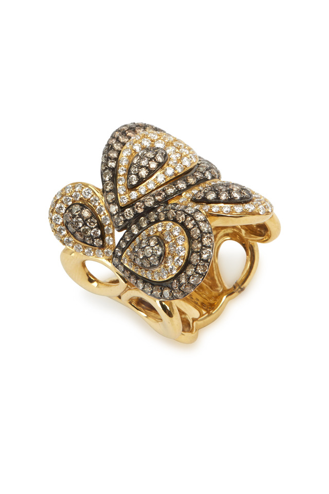 Yellow Gold Brown & White Diamond Ring