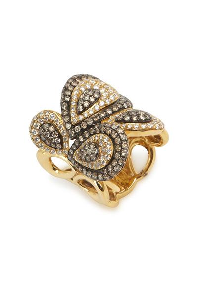 Loren Jewels - Yellow Gold Brown & White Diamond Ring