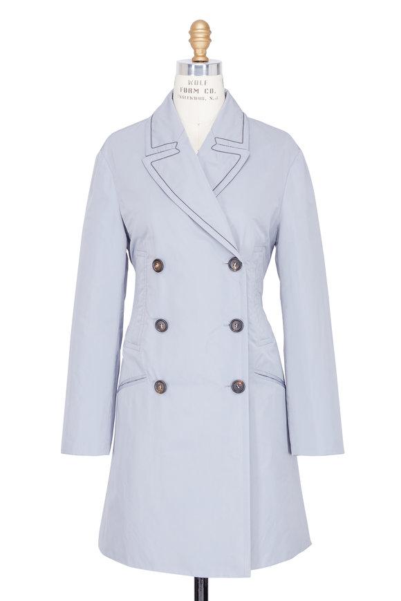 Brunello Cucinelli Taffeta Sky Blue Double Breasted Trench Coat
