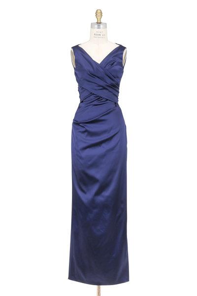 Talbot Runhof - Navy Blue V-Neck Ruched Gown