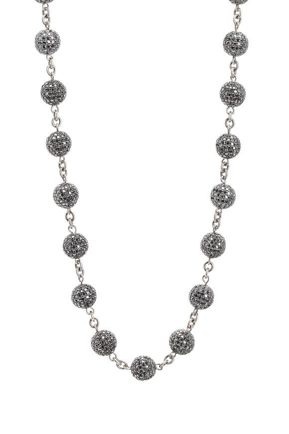 Loren Jewels Sterling Silver Pavé Black Diamond Ball Necklace