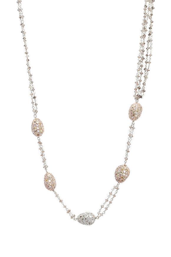 Kathleen Dughi 18K Gold Pavé Diamond Ball Necklace