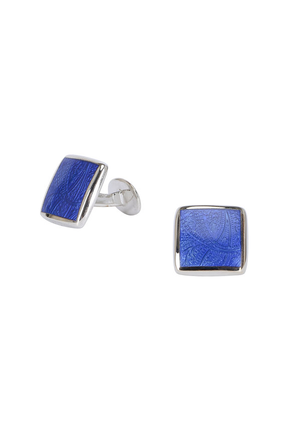 David Donahue Blue Paisley Cuff Links