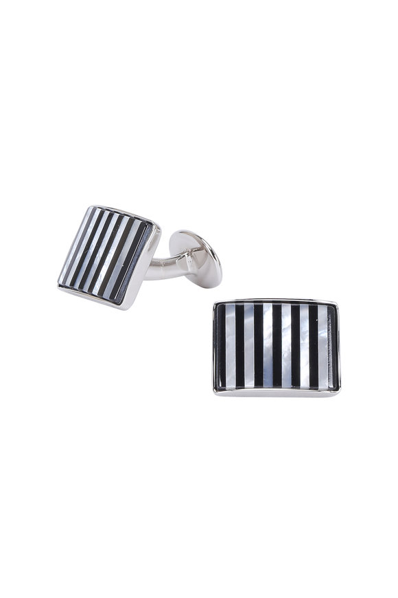 David Donahue Onyx & Mother-Of-Pearl Striped Cuff Links