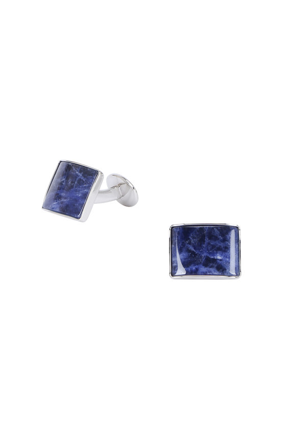David Donahue Blue Sterling Silver & Soladite Cuff Links