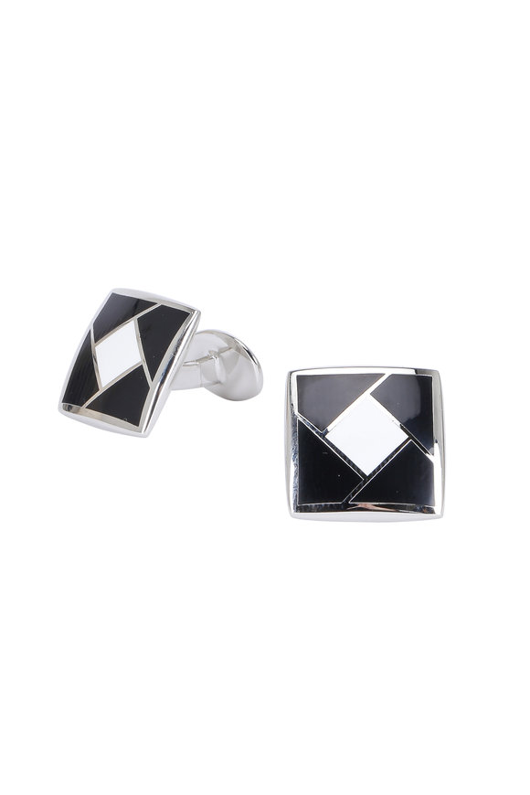 David Donahue Sterling Silver Black & White Square Cuff Links