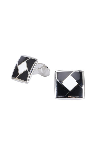 David Donahue - Sterling Silver Black & White Square Cuff Links