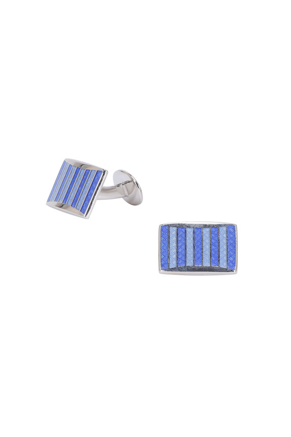 David Donahue Sterling Silver Blue Striped Rectangle Cuff Links