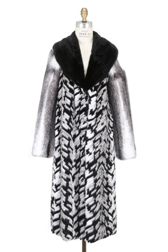 Oscar de la Renta Furs Black Cross & Chevron Technique Mink Coat