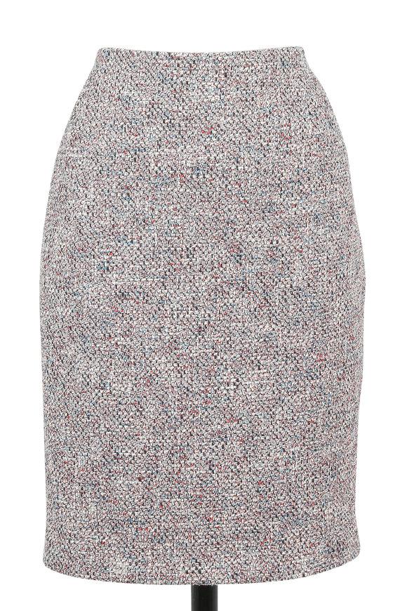 Akris Punto Denim Multicolor Tweed Knit Pencil Skirt