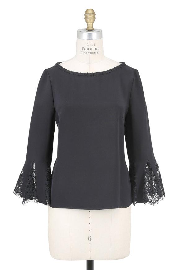 Oscar de la Renta Black Silk Three-Quarter Lace Bell Sleeve Blouse