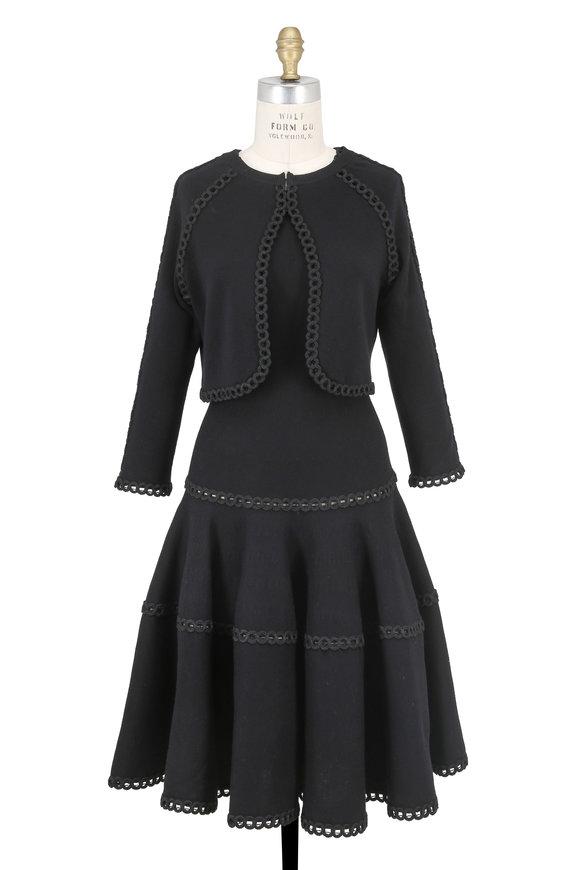 Oscar de la Renta Black Soutache Trim Sleeveless Dress With Shrug