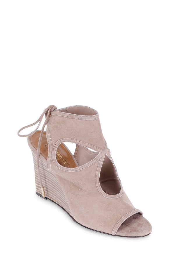 Aquazzura Sexy Thing Caffe Latte Suede Cut-Out Wedge, 85mm