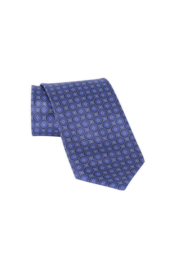 Brioni Navy Blue Tonal Geometric Silk Necktie