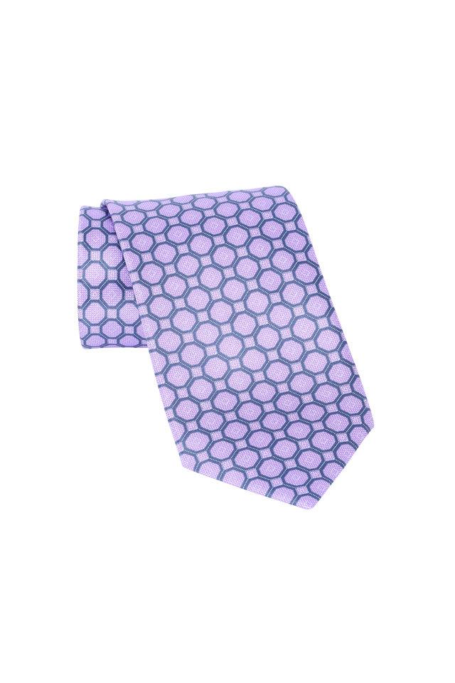 Lavender Geometric Silk Necktie