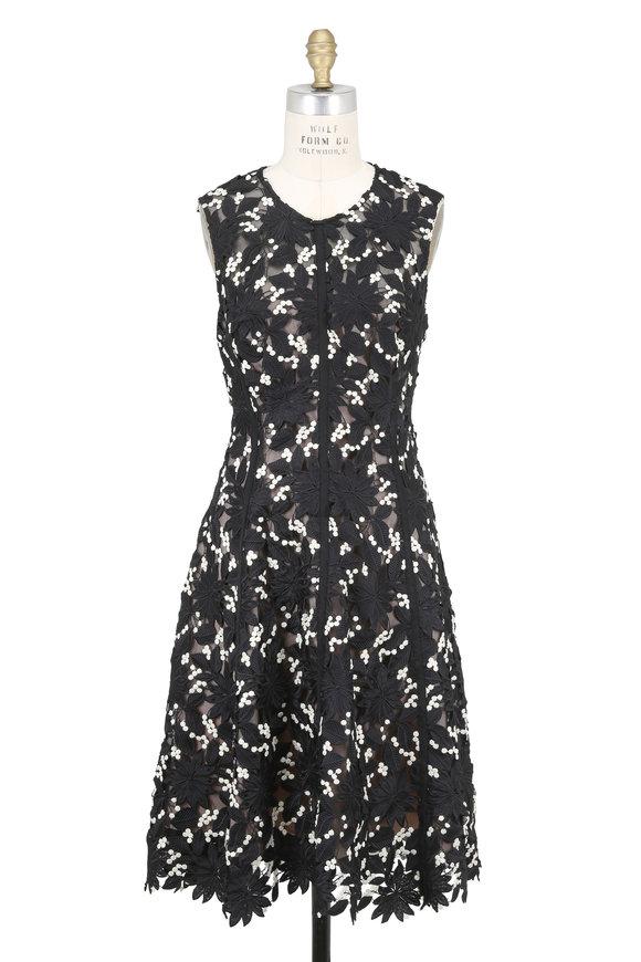 Lela Rose Black & Ivory Floral Guipure Lace Sleeveless Dress