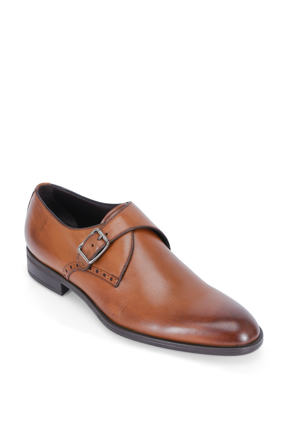 Ermenegildo Zegna Garonne Burnished Brown Leather Single Monk Shoe