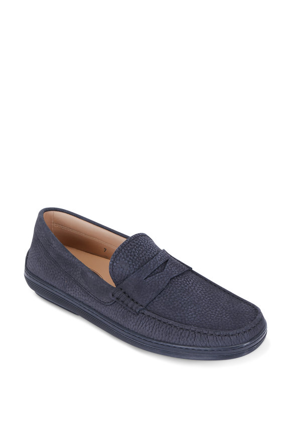 Tod's Marlin Navy Blue Pebbled Suede Penny Loafer