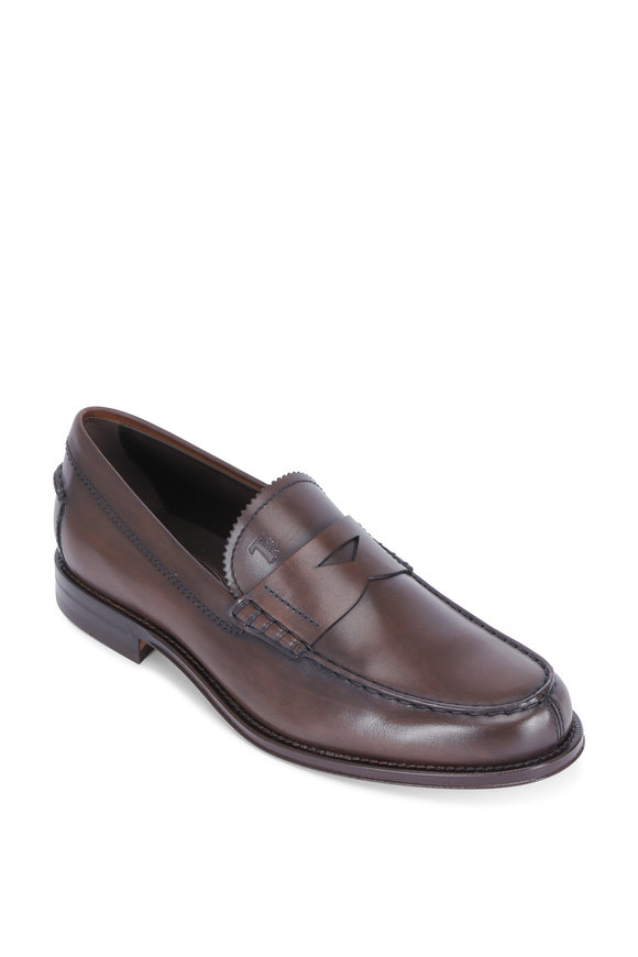 Tod's Ro Dark Brown Leather Penny Loafer