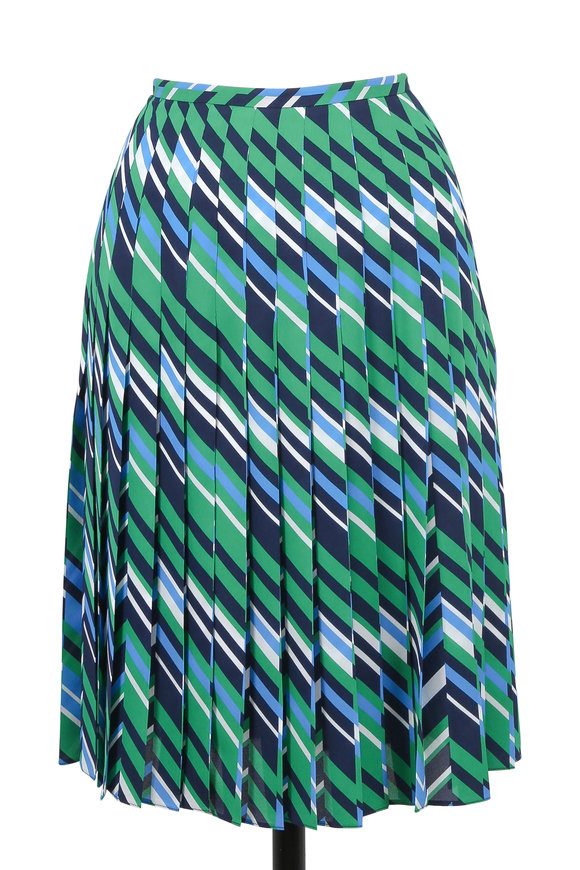 Michael Kors Collection Maritime Multicolor Chevron Pleated Skirt