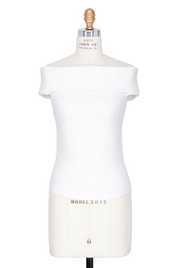 Elizabeth & James Dominique Ivory Ribbed Wool Off-The-Shoulder Top