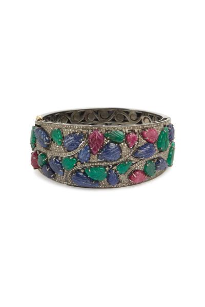 Loren Jewels - Sterling Silver Carved Gemstone Bangle