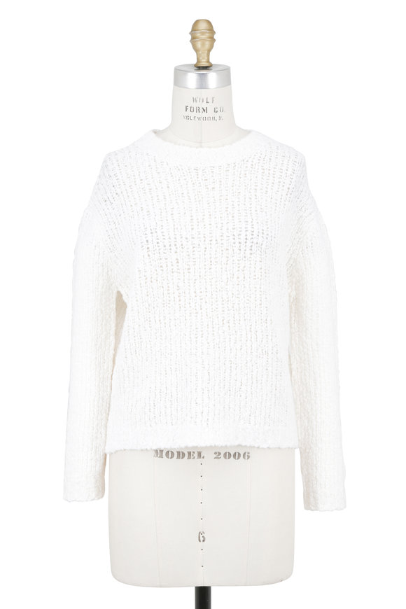 Vince White Textured Merino Wool Boxy Pullover