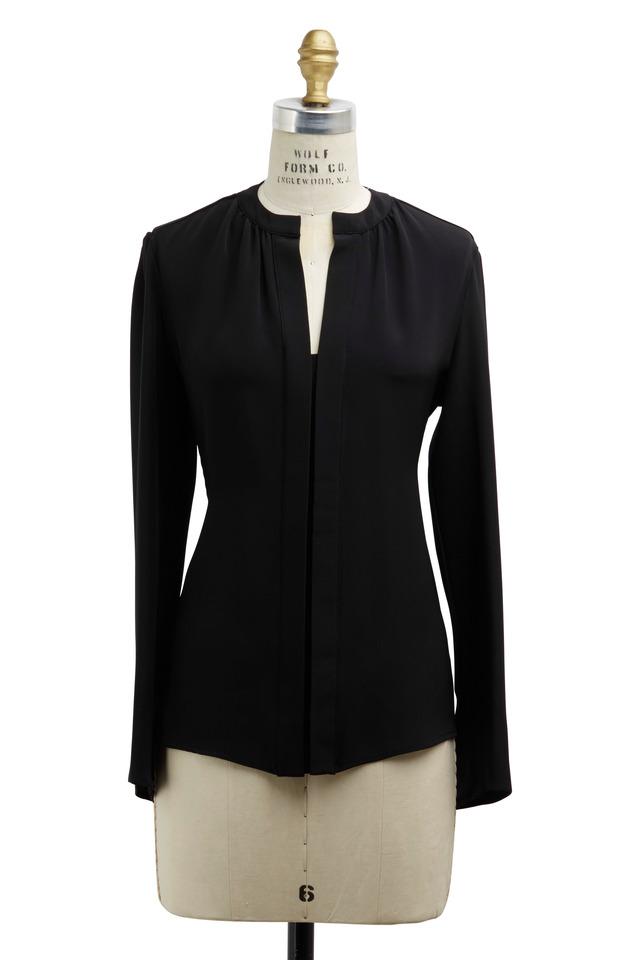 Black Silk Nehru Collar Blouse