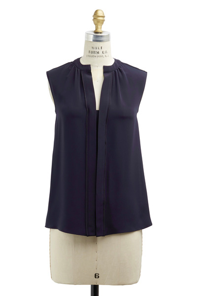 Derek Lam - Navy Blue Silk Nehru Collar Sleeveless Blouse