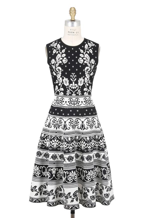 Alexander McQueen Black & Ivory Floral Jacquard Sleeveless Dress