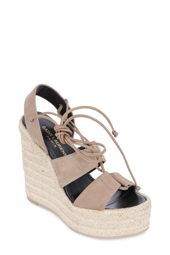 Saint Laurent Taupe Suede Lace-Up Wedge Espadrille, 130mm