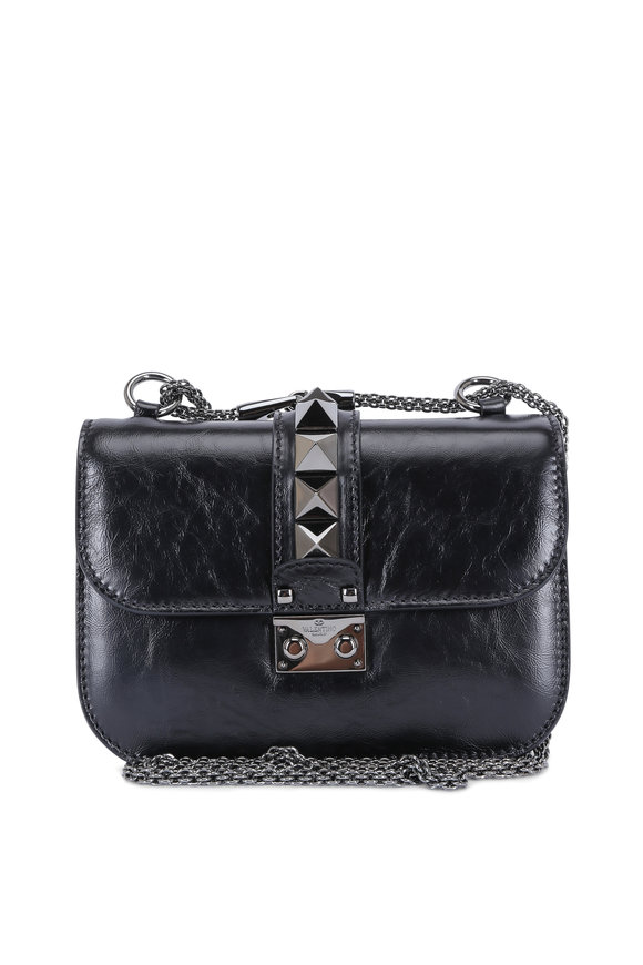Valentino Lock Black Glossy Leather Chain Shoulder Bag