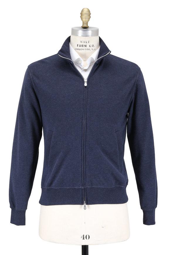 Brunello Cucinelli Navy Zip Sweatshirt