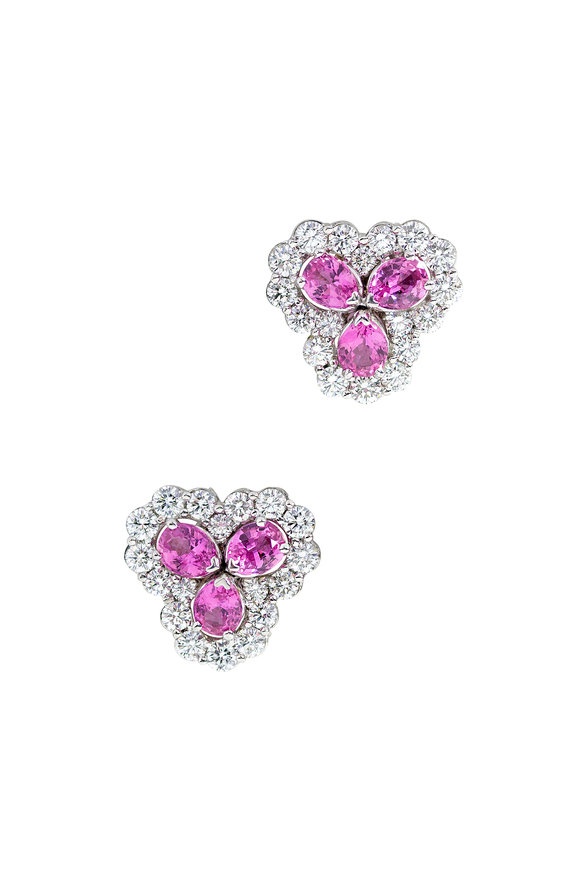 Oscar Heyman Platinum Pink Sapphire & Diamond Cluster Earrings