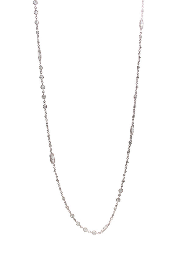 64 Facets 18K White Gold Diamond Stations Chain