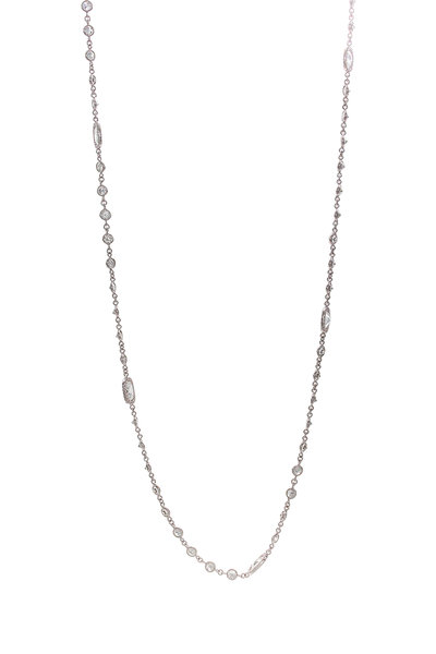64 Facets - 18K White Gold Diamond Stations Chain